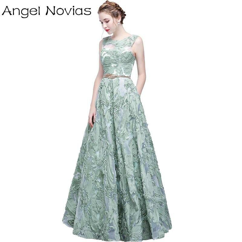 Nouveauté longue élégante robe de soirée 2017 ange Novias vert broderie dentelle longueur de plancher fête robe de bal Vestidos Para Festa