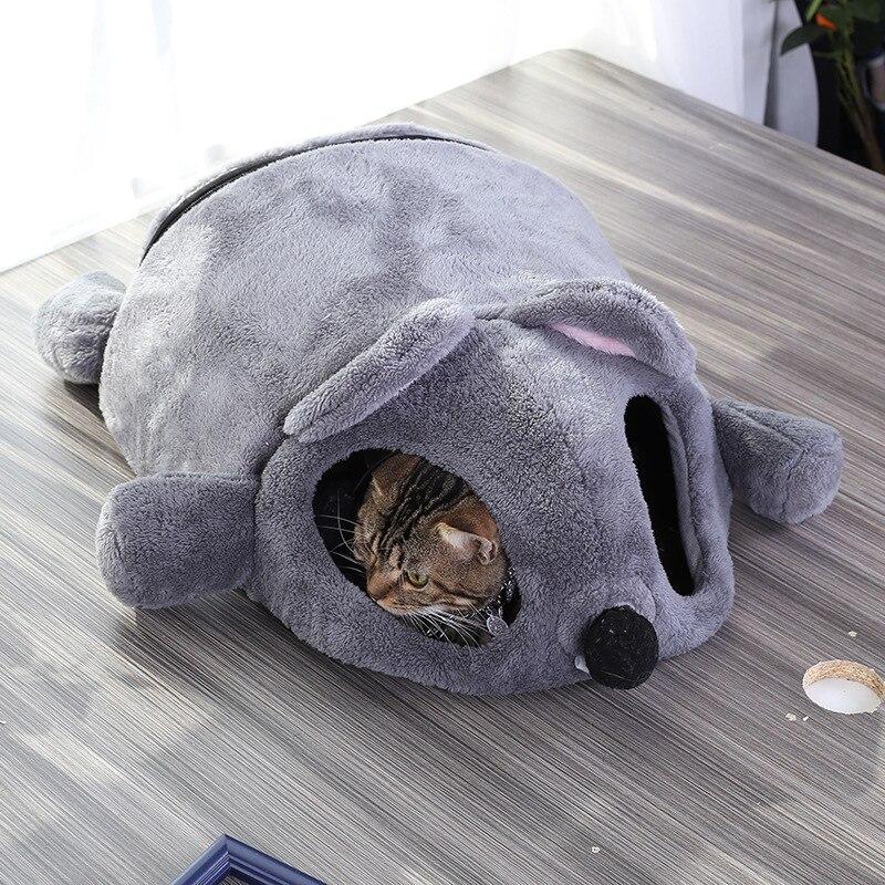 Забавный серый коврик в форме мыши для кошек, котят, кровать для маленьких кошек, собак, пещерная кровать, съемная подушка, водонепроницаема