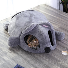 Funny Grey Mouse Shape Pet Cat Kitten Bed Mat For Small Cats Dogs Cave Removable Cushion Waterproof Bottom House