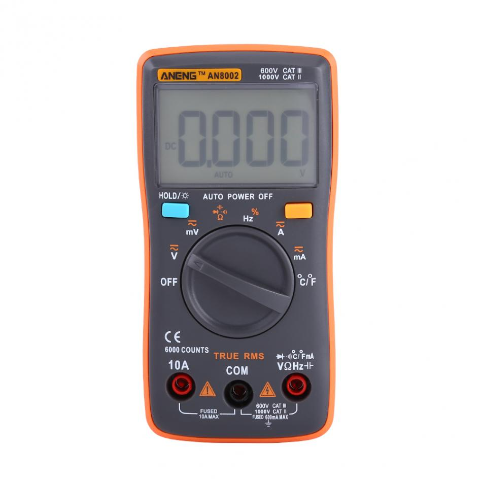 Professional Digital Multimeter AC/DC Voltmeter Ammeter Temperature Ohm Meter LCD Display 6000 Counts Portable Meter mini multimeter holdpeak hp 36c ad dc manual range digital multimeter meter portable digital multimeter