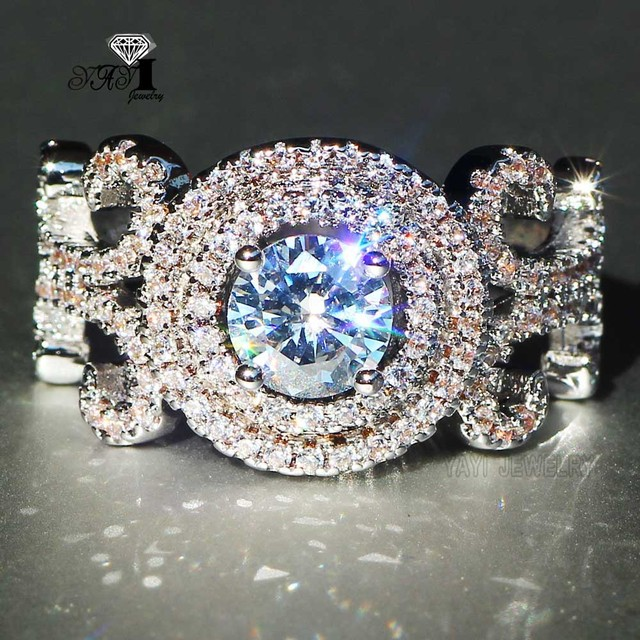 YaYI Jewelry Fashion  Princess Cut 3.8  CT White Zircon Silver Color Engagement Rings wedding Rings Party Rings 644