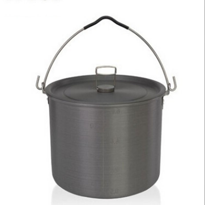6.5l Camping Hanging Pot 4-6 Person Outdoor Tableware Cookware Cooking Pan Camping Stove Tool Self-driving Picnic outdoor tableware camping pot camping cookware outdoor stove for 4 5 person non stick pan black cookware set field supplies