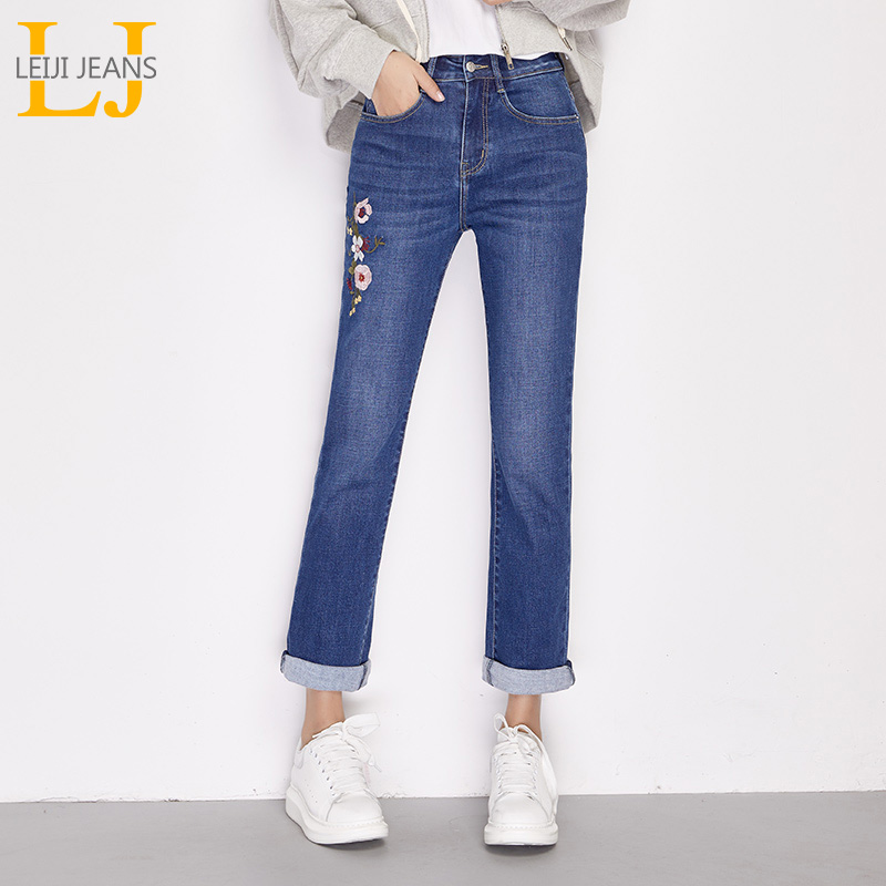 LEIJIJEANS 2019 Spring and summer new waist shot high waist slim straight long   jeans   Flower color embroidery elegant women   jeans