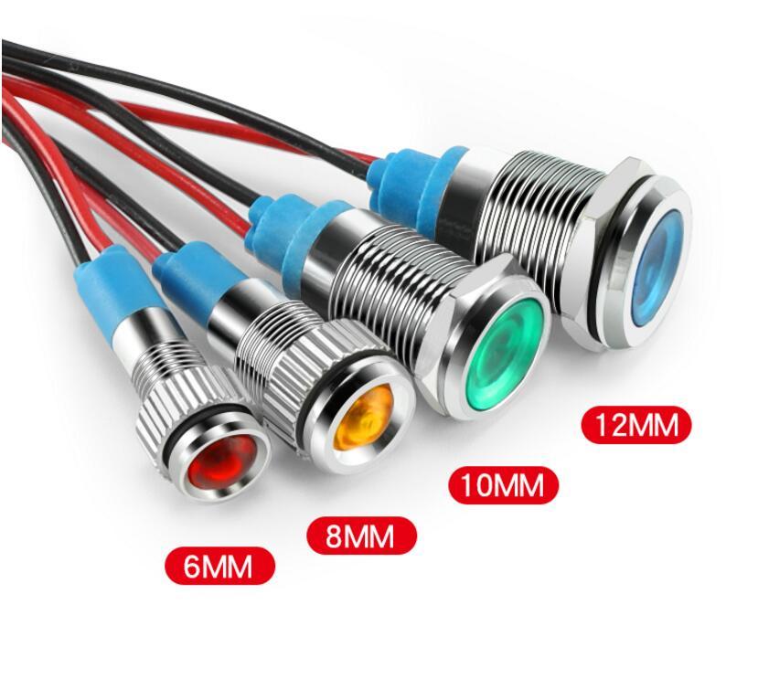 6mm 12v Mini Metal LED Pilot Panel Dash Signal Indicator Warning Light 15cm Cable Chrome Finish Car Boat Marine