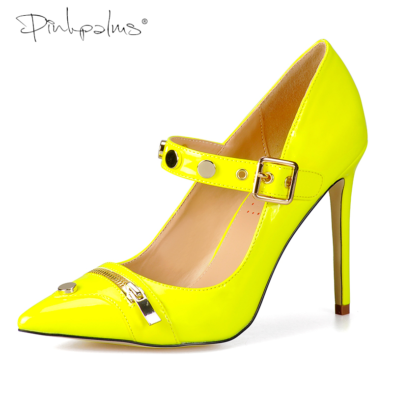 Pink Palms women summer shoes high heels shoes and metal zipper pointed toe basic classics pumps Mary Janes Shoes Women Yellow 2018 new spring women single shoes women pumps women high heels classics pu basic casual shoes