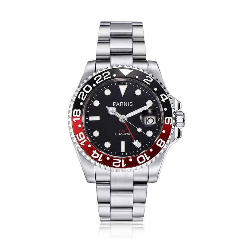 Logotipo 40mm Automático dos homens Parnis Relógios Black Red Bezel Mergulhador GMT Calendário Cinta de Aço Inoxidável Homens Relógio Mecânico horloge