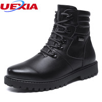 UEXIA Unisex Warm Winter Leather Men Snow Boots Leisure Men Shoes Lovers High Quality PU Leather