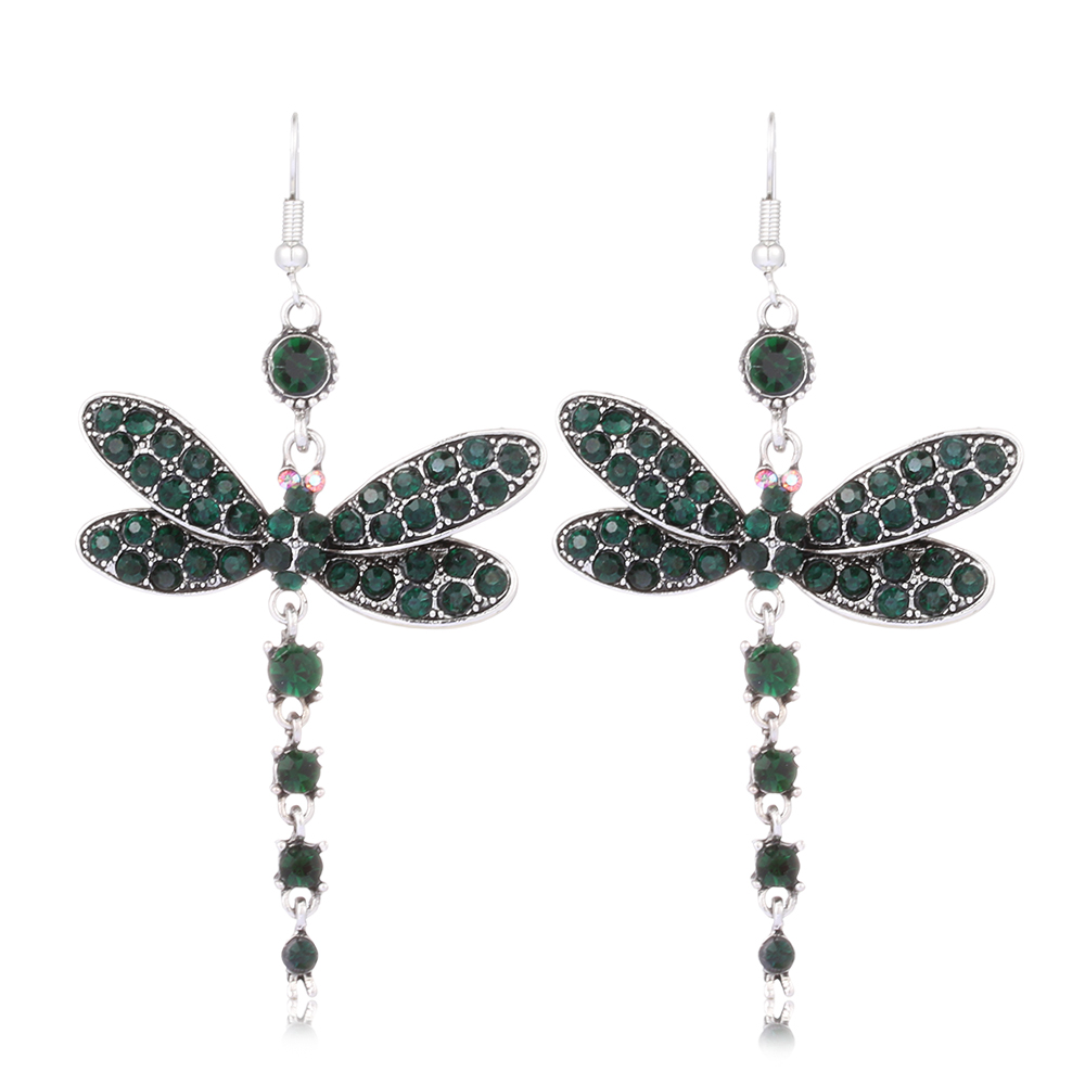 Gorgeous Dragonfly Insect Crystal Rhinestone Tassel Dangle Drop Earrings