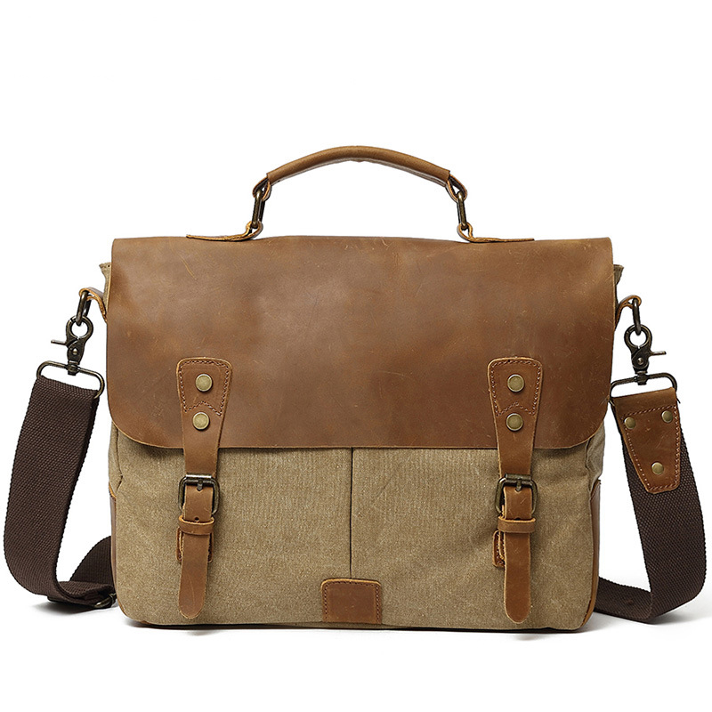 Canvas Bag Cow Leather Portable Briefcase Laptop Bag Business Briefcase Leather Briefcases Men