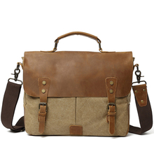 Canvas Bag Cow Leather Portable Briefcase Laptop Bag Business Briefcase Leather Briefcases Men hot sale large handcrafted double zip leather briefcase retro men s versatile briefcases bag laptop case free dhl shipping