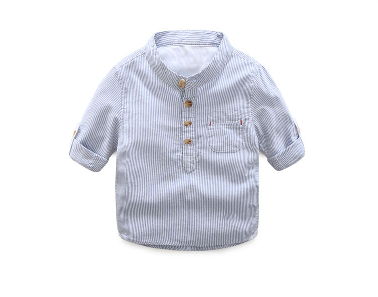 Striped Shirt Spring Autumn New Arrival Boy Childrens Clothing Casual Button Long-sleeved Cool Kids Baby Boy Shirt