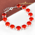 New high quality red handmade Created topaz bracelets bangles round Brazil citrine Silver Plated bracelets for women