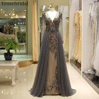 Erosebridal линии бисерное вечернее платье 2019 длинные темно шампанское серый красный 4 цвета Sheer V образным вырезом халат de soiree Прямая доставка