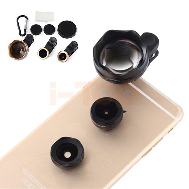 2017 5en1 Schott Vidrio 3X Teleobjetivo Lentes de ojo de Pez Lente Gran Angular Macro para el iphone 4s 5 5s 6 6 s 7 plus samsung teléfono celular Lentes
