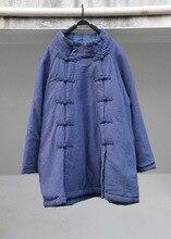 Китайский стиль этнические двубортный водолазка личность хлопок белье парка пальто женщин старинные толстый ватные парки