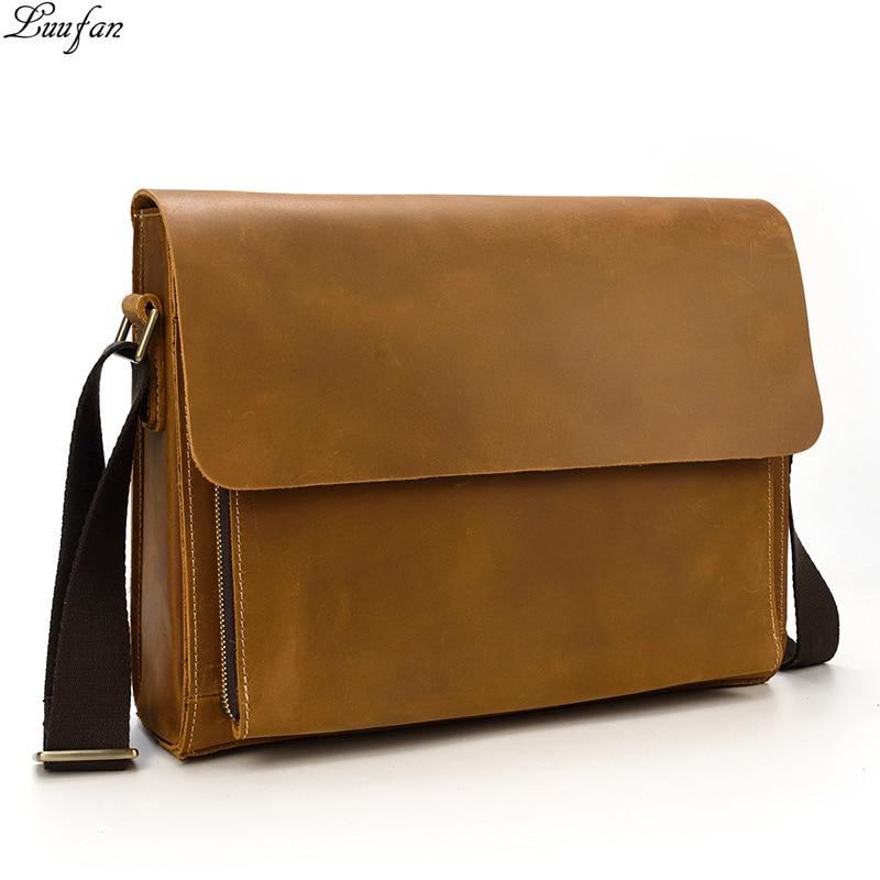 Hohe qualität Aus Echtem Leder schulter tasche unisex leder umhängetasche Rindsleder Umhängetasche für iPad lässige satchel tasche-in Crossbody-Taschen aus Gepäck & Taschen bei  Gruppe 1