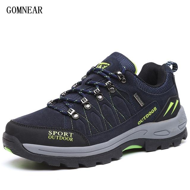 GOMNEAR erkek yürüyüş ayakkabıları Erkek Açık Ayakkabı Yürüyüş Antiskid Nefes trekking ayakkabıları Av Turizmi Dağ Ayakkabı Botları