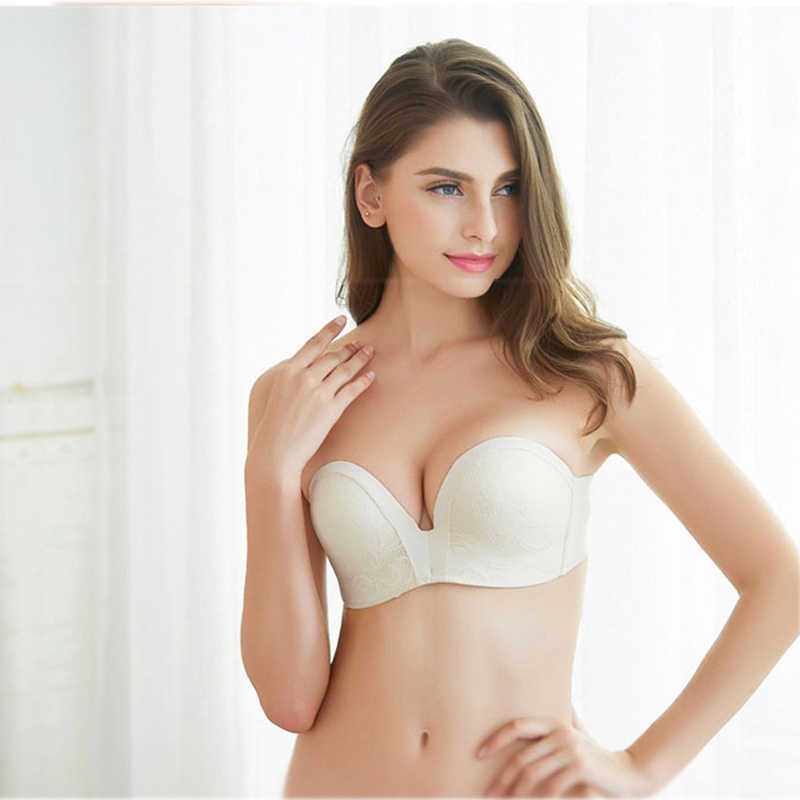 0b251a0b5f85 ... Sexy Lace Invisible Bras For Women Strapless Bra Push Up Backless  Lingerie 1/2Cup Bralette