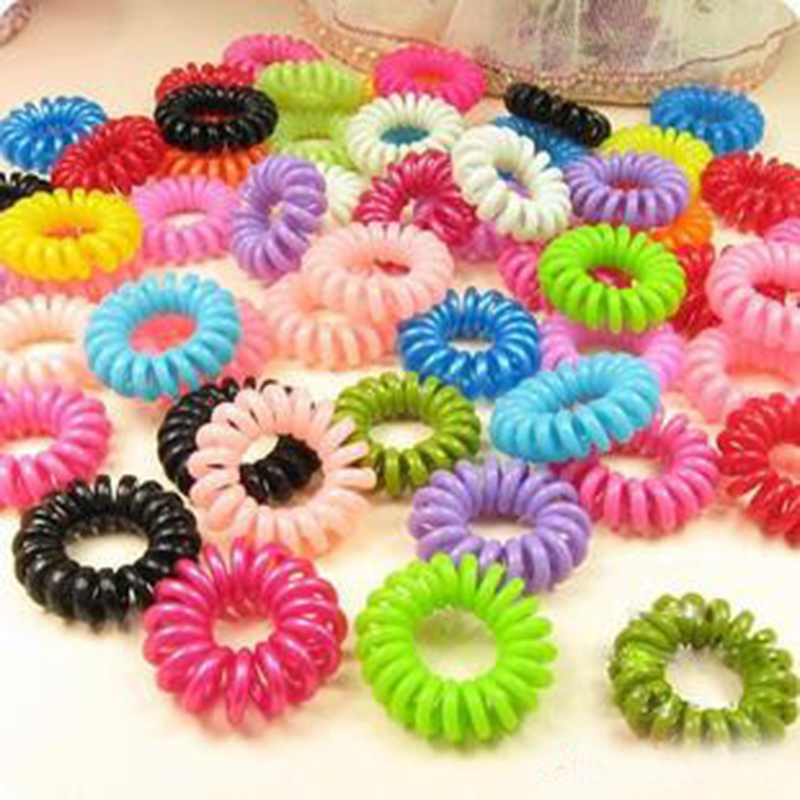 Beautiful 10Pcs/Pack Telephone Cord Elastic Ponytail Holders Hair Ring Scrunchies Girl Rubber Band Tie High Quality Accessory