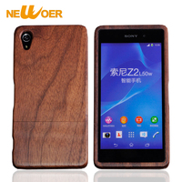 Original NEWOER Wood Case For Sony Xperia Z2 Bamboo Phone Cases Cover Naturn Handmade Rose Walnut