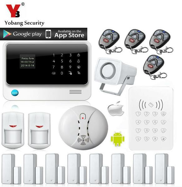 YobangSecurity 96 Wireless 4 Wired GSM WIFI Alarm System Voice Prompt Home Alarm Security System APP RFID Keypad Fire Detector wireless smoke fire detector for wireless for touch keypad panel wifi gsm home security burglar voice alarm system
