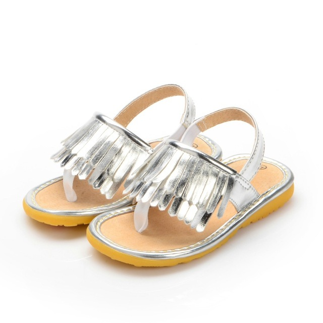 2017 new Summer silver finge baby pu leather moccasins Kids girl hard rubber sole shoes first walkers infant free shipping