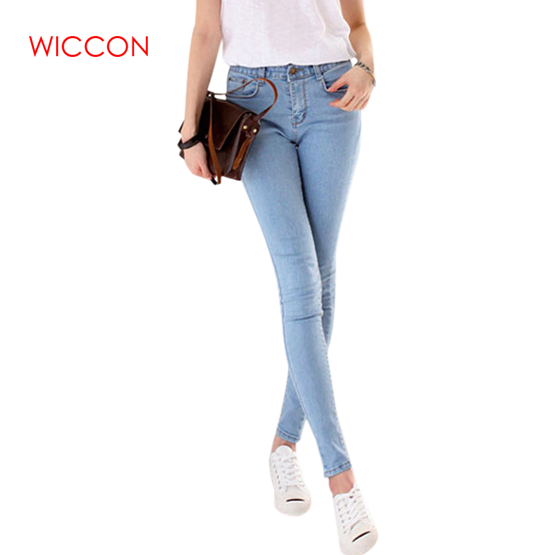 WICCON New Solid High Waist   Jeans   Women 4 Seasons Skinny Denim Pencil Pants Casual streetwear High Elastic   jeans   Woman 2019