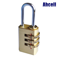 Mini 3 or 4 numbers Resettable padlock digit password bag luggage mechanical combination dial-up keyed travel brass coded lock