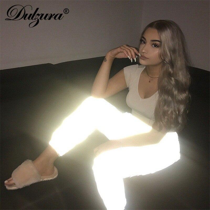 Dulzura flash réfléchissant survêtement pantalon 2019 automne hiver femmes décontracté gris solide streetwear pantalon mode vêtements