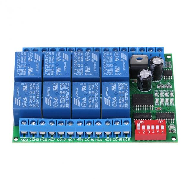 DC 12V 8 Channel RS485 Relay Command Programmable Control Module Board Assortment