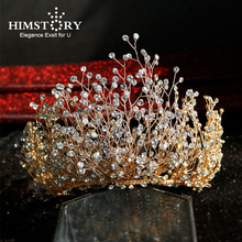 Himstory Luxury Crystal Bridal Hair Vine Headband Handmade Wedding Headpiece Stunning Party Jewelry For Brides