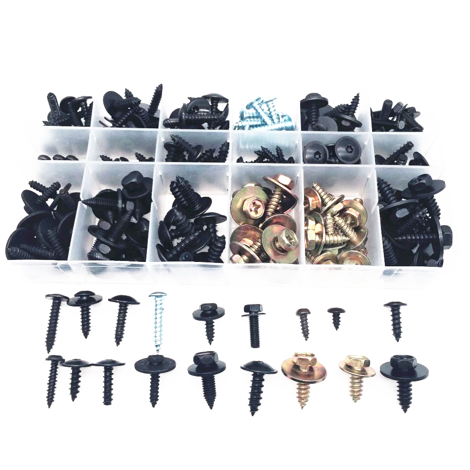 180PCS Car Metal Carbon Steel Self tapping Screw Fast Wire Screw Fastener Clip With Box For