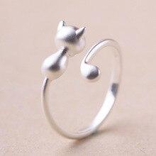 Настоящее Стерлингового Серебра 925 Cat Кольца для Женщин Леди Мода Обручальные Кольца Регулируемые Кольца стерлингов-серебро-ювелирные изделия(China (Mainland))