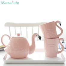 Pink Flamingo Teapot Set Creative Cartoon Two Cups and a Pot of Ceramic Tea Kettle Gifts