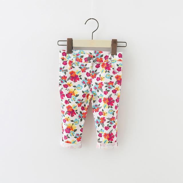 Nuevo bebé grils vaqueros pantalones cómodos suaves del bebé leggings moda niños chicas Flores Stretch pantalones topomini 12-24 M