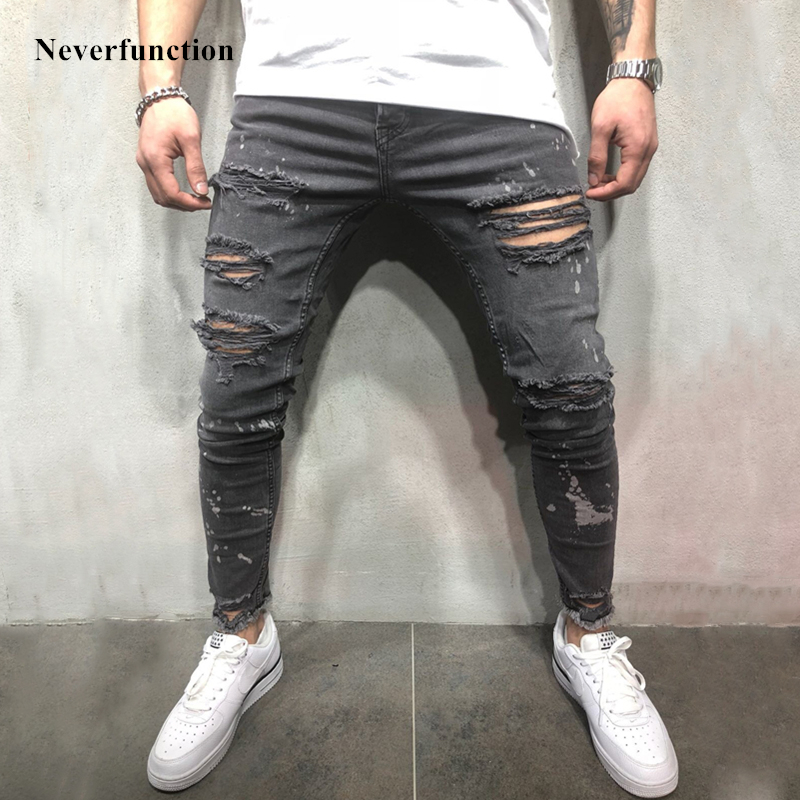 Men Splashing ink streetwear Vintage gray Ripped Skinny   Jeans   Hip hop Motorcycle Destroyed Slim Fit Holes Men biker Denim Pants