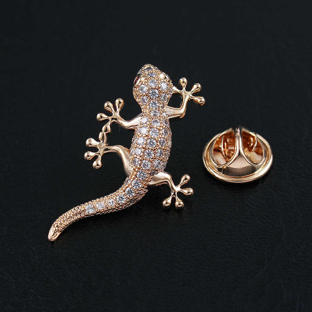 CINDY XIANG New Arrival Cubic Zirconia Lizard Gecko Collar Brooches For Women And Men Unisex Animal Pin Luxury Coat Accessories