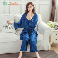 WSTNewLay New Luxury Women Pajama Sets 2017 Fashion 3 Pcs Pajama Long Pants Set Female Pajamas