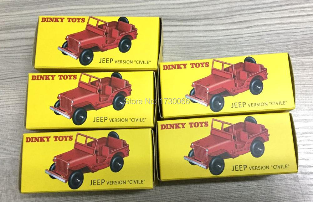 Wholesale 5 pcs A lot of  Atlas DINKY Toys 1:43 24M JEEP VERSION CIVILE Alloy Diecast Car model & Toys Model for Collection maisto jeep wrangler rubicon fire engine 1 18 scale alloy model metal diecast car toys high quality collection kids toys gift