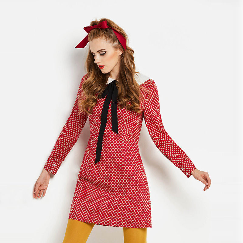 a16e51a1ecd6 ... Sisjuly Red Polka Dot Elegant Office Women Work Dresses Black Bowknot  White Peter Pan Collar Long ...