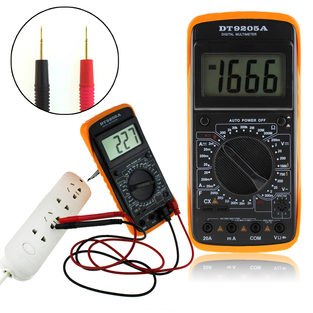 Professional Auto Electric Handheld Tester AC/DC LCD Display COMS Meter Digital Multimeter with 2 Test Leads Voltmeter Ammeter
