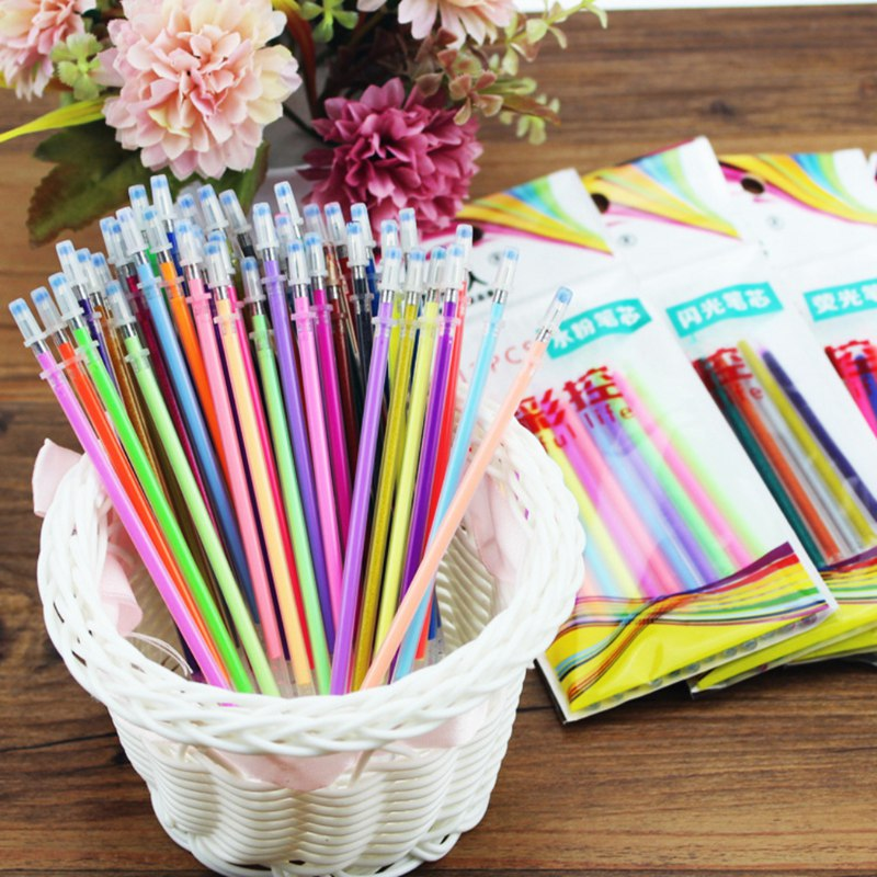 48Pcs Paintings Colored Gel Ink Pen Refills Multi Colored Core Bag Set Fluorescent Metallic Refill Paintings