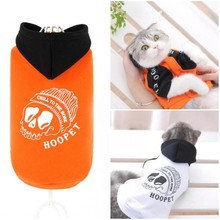 Clearance Orange/White Autumn Winter pet Hoodies Skull Cat Coat clothes dog Teddy Clothing Appreal