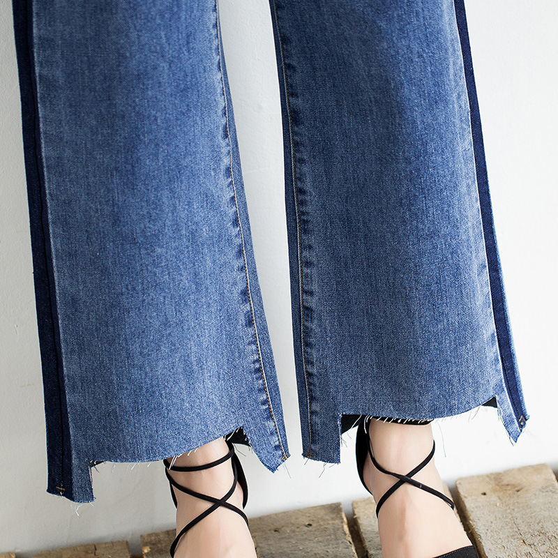 Idopy Fashion Women Vintage Washed Denim Wide Leg Pants Female Side Stripe Legging High Waist Jeans Bell Bottom Jeans For Women 6