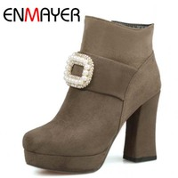ENMAYERNew High Quality Fashion Boots For Shoes Lace Up Ankle Boots Sweet Round Toe High Heels