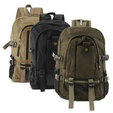 Men Canvas Backpack Vintage Satchel Rucksack School Travel Shoulder Bag Waterproof Large Capacity Laptop Backpack