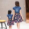 2015 Matching Mãe Filha Roupas Família Olhar Estilo Verão Vestido de Mãe e Filha Outfit Pai-Filho Mãe e Filha Vestido Maxi