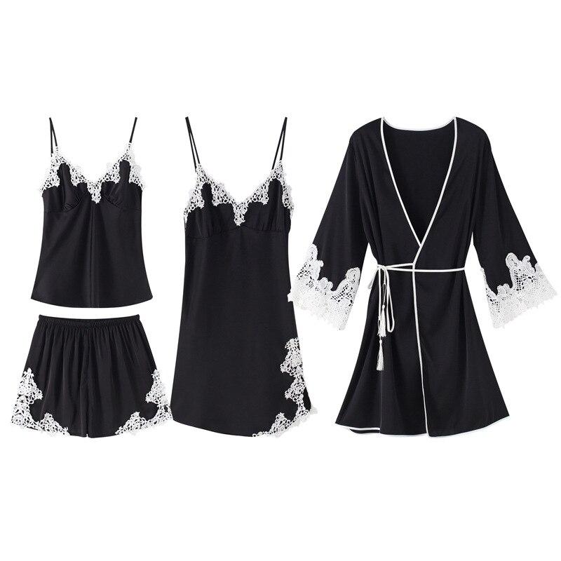 Rayonne vêtements de nuit femmes Kimono Robe de bain Sexy 4 pièces nuisettes printemps été rayonne Cami + Shorts + nuisette + Robe maison porter pyjama ensemble - 2