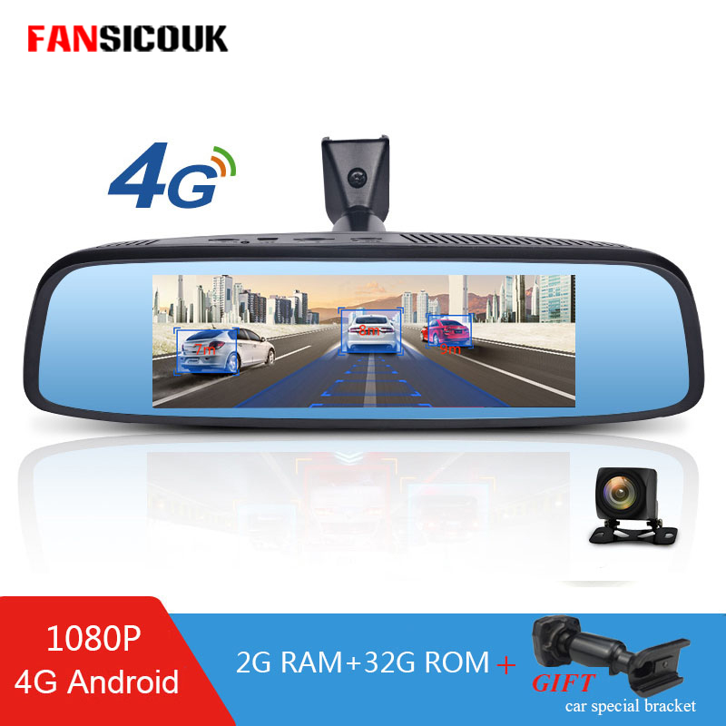 FANSICOUK 4G Mirror Recorder 2GB RAM Car DVR Camera Dual Lens ADAS Android Dash Camera GPS Navi Auto 1080P RearView Mirror DVRS