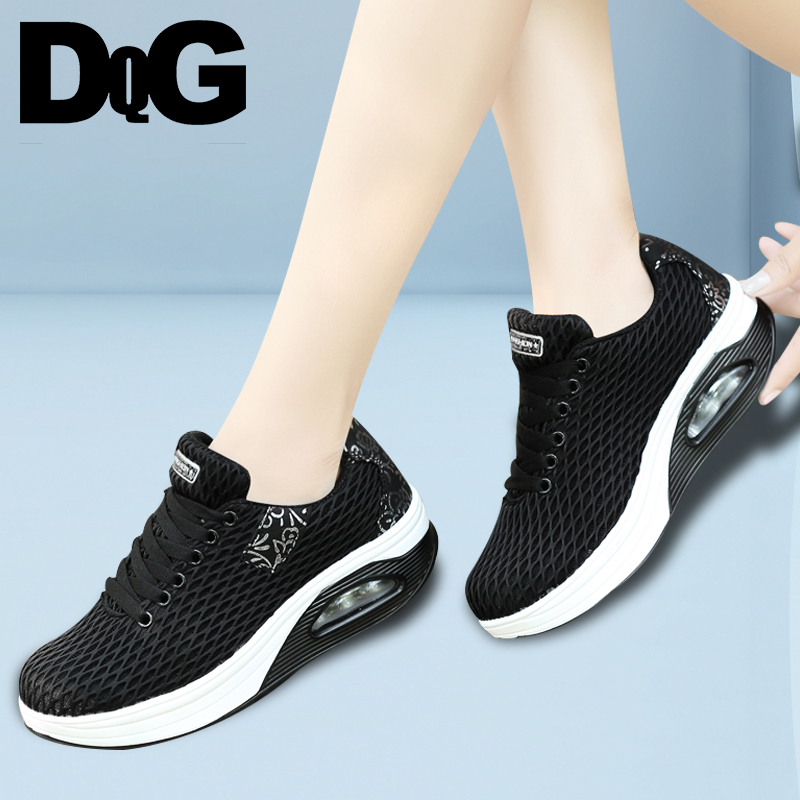 DQG 2018 Spring Casual Women Shoes Breathable Walking Shoes Air Mesh Lace Up Flat Platform Shoes free shipping candy color women garden shoes breathable women beach shoes hsa21